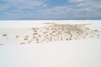 White Sands National Monument, looking northeast toward the 12,000 foot Sierra Blanca